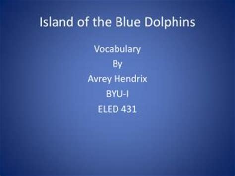 Book report on the island of the blue dolphins
